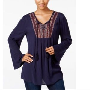 Style & Co Boho Peasant Tunic Top - Navy Blue - L